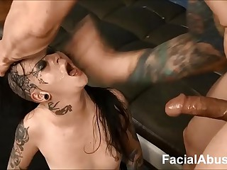(new) Goth floozy Mallory Maneater throated increased by DP'd at Face Bonking