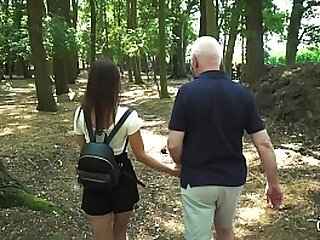 Young nympho gets fucked by grandpa in her tight pussy and sweet mouth
