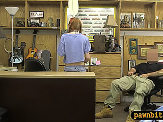 NonProfessional legal age teenager chick sucks off and groupfucked by pawnshp owner