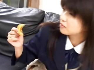 Rin doll in school uniform sucks phallus