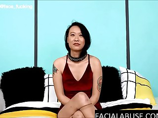 Dumb Asian girl gets rough anal & facefucked into a puke fountain