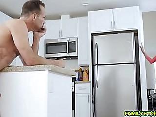 Step dad Rich stuffs Karlie Brooks shaved pussy