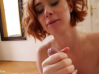 Sex-tape with hot busty natural redhead British girl