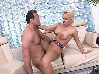 Hot European blonde peacherino Britney was shot in the tail by well-stuffed guy