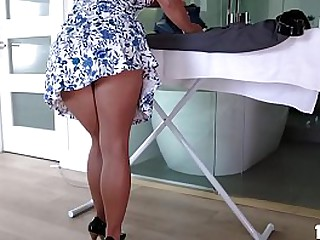 Sara St Clair is a sexy blonde MILF who wants to help her stepson look his best
